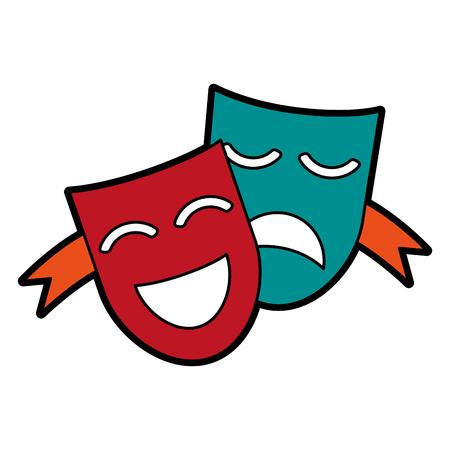 극장 마스크 개념 아이콘 이미지 벡터 일러스트 디자인