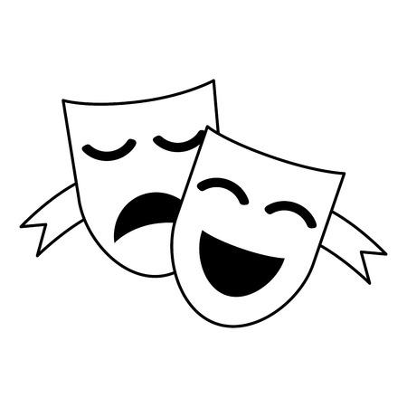 theater masks concept icon image vector illustration design  black line