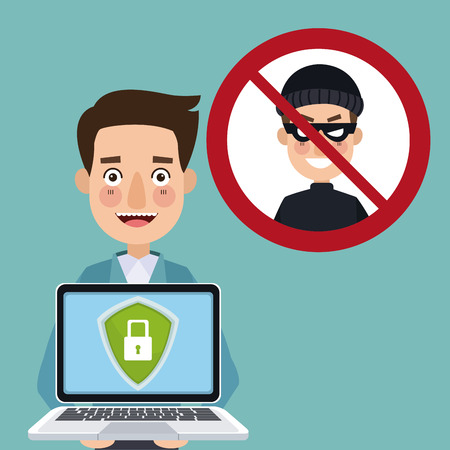 blue color background man programmer holding laptop with security padlock with chains crossed and prohibited hacker signal vector illustration Vectores