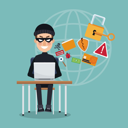 scene color thief hacker in desk with laptop global attack vector illustration