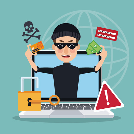 blue background global world silhouette with laptop and thief man hacker stealing attack vector illustration