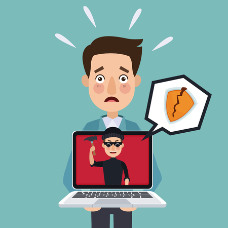 blue background programmer man with laptop and thief man hacker attempting against security vector illustration Illustration