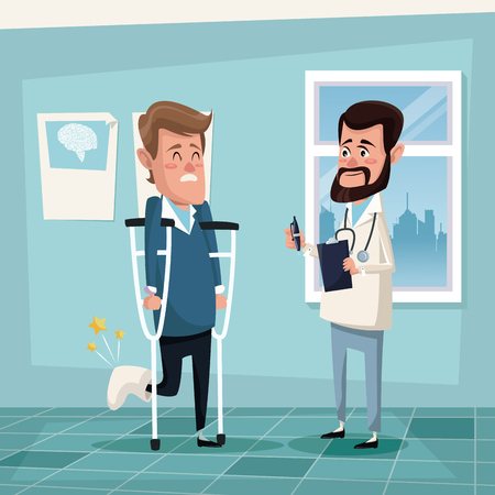 color background hospital room with man in crutches and male therapist vector illustration