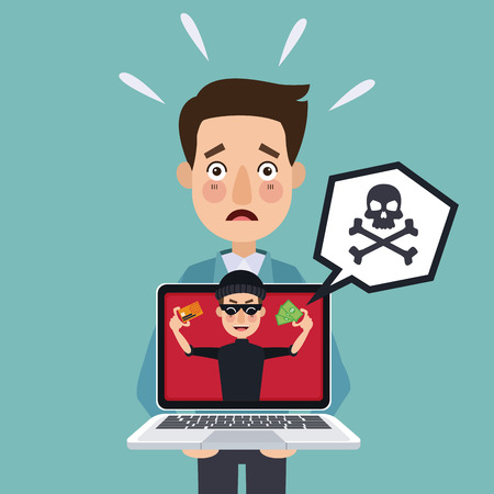 stealing data: blue background programmer man with laptop and thief man hacker stealing against security vector illustration Illustration