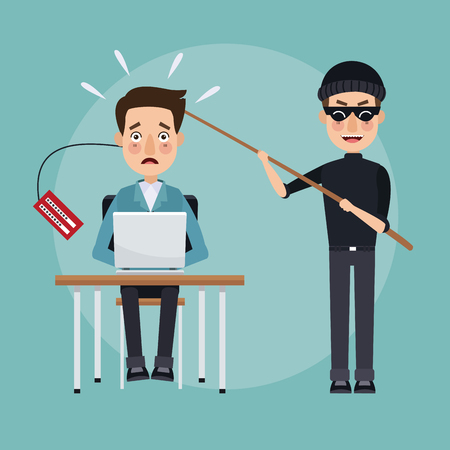 scene color programmer man in desk with laptop and thief man hacker stealing information vector illustration