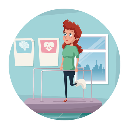 circular frame with color scene hospital room with woman person in rehabilitation medical vector illustration