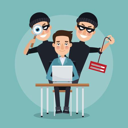 현장 컬러 프로그래머 남자 노트북 및 쌍 도둑 책상에 정보 및 정보를 훔치고 벡터 일러스트 레이 션을 훔치는 남자 해커 스톡 콘텐츠 - 79752276