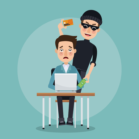 scene color programmer man in desk with laptop and thief man hacker stealing data credit card vector illustration