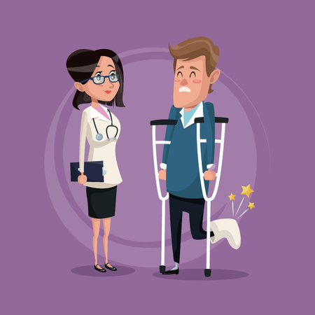 color background with man on crutches and doctor woman vector illustration
