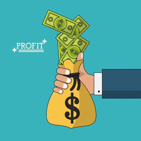 colorful poster with hand holding profit money in bag vector illustration