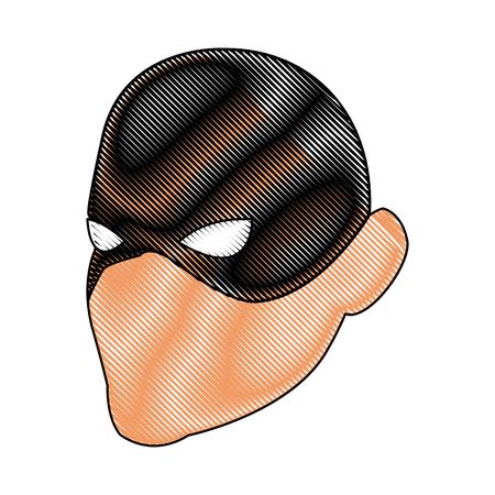 superhero man face male with the mask cartoon vector illustration
