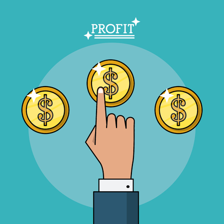 colorful poster of profit with hand and coins vector illustration