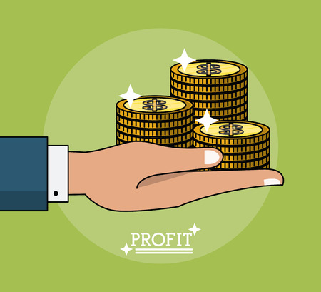 colorful poster of profit with hand holding coins vector illustration