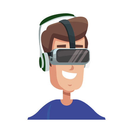 character man young wearing vr glasses vector illustration