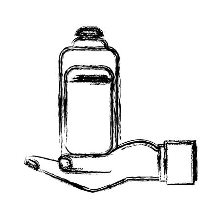human hand holding bottle shampoo care pet vector illustration Illustration