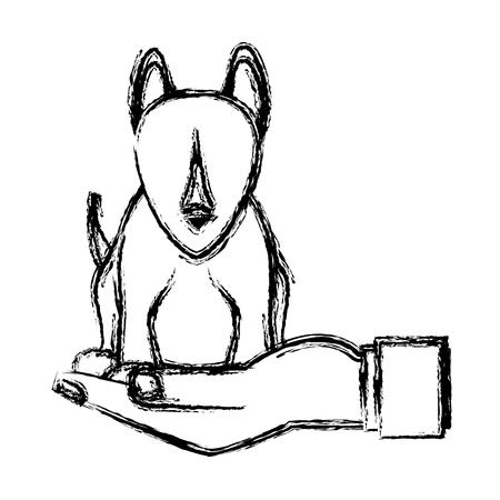 main de l'homme tenant chien animal de compagnie vétérinaire croquis illustration vectorielle