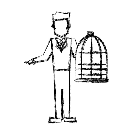 vet man with bird cage empty veterinary concept sketch vector illustration Illustration