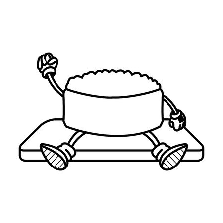 kawaii sushi oriental food japanese platter and chop sticks vector illustration Illustration