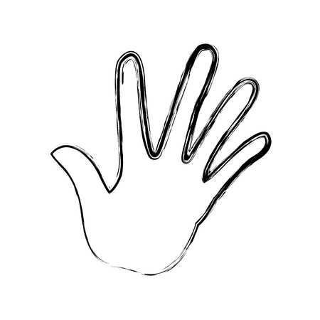 Hand human with five finger show palm vctor illustration.