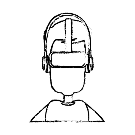 Sketch man wearing vr goggles image vector illustration. Illustration