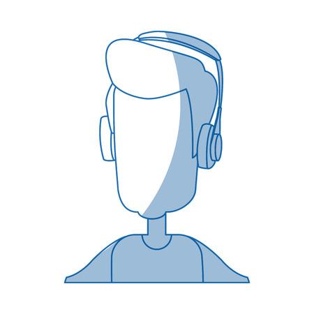Sirva el ejemplo del vector de la tecnología del dispositivo de los auriculares del hombre que lleva Foto de archivo - 79881489