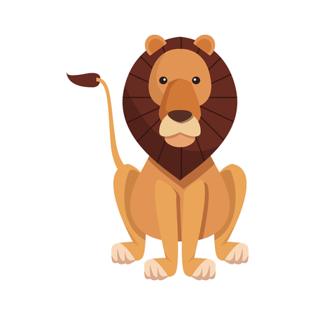 lion sits dangerous predator animal vector illustration Illustration