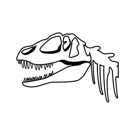 fossil dinosaur head skeleton lizard animal bone vector illustration