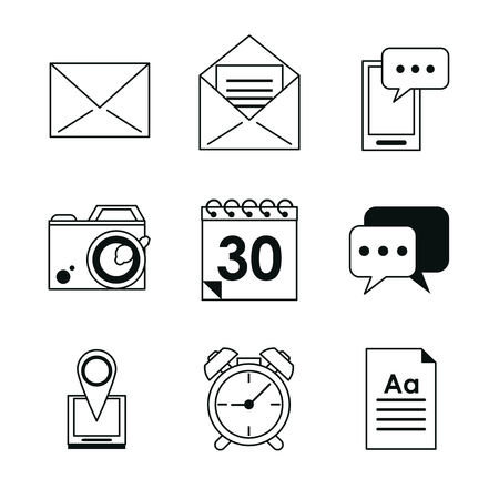 smartphone apps: monochrome silhouette with application office icons vector illustration