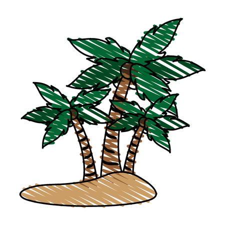 island with palm trees doodle  over white background vector illustration design Illustration