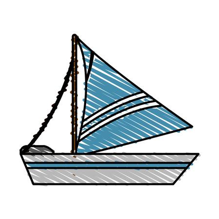 blue sailboat doodle over white background vector illustration design Illustration