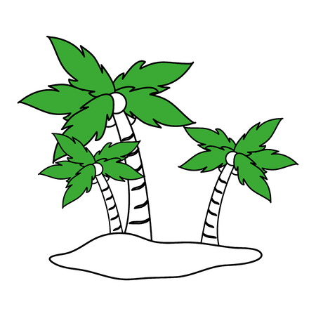 Flat line island icon over white background vector illustration