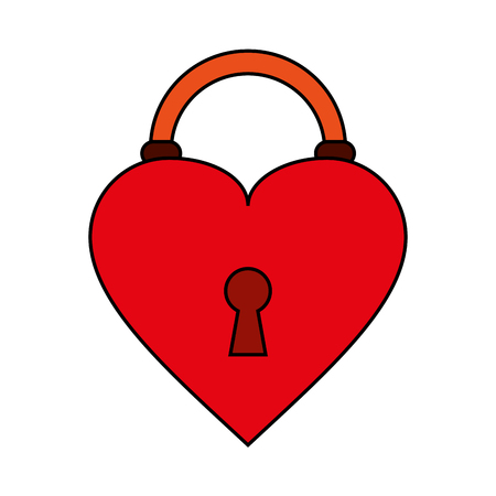 heart padlock flat illustration icon vector design graphic