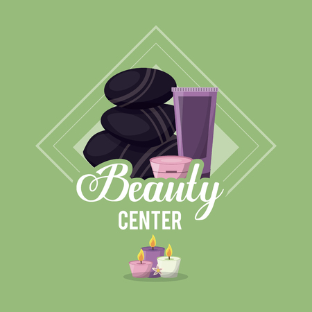 colorful of beauty center with set of black massage stones and skin creams vector illustration Illustration