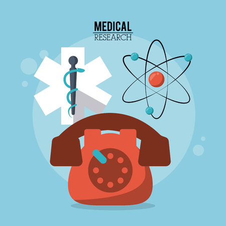 color poster medical research with star of life and phone and atom icon vector illustration Illustration