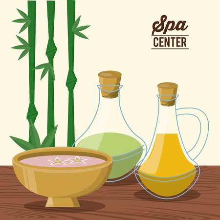color poster of spa center with bamboo plant and bowl and oil essences bottles vector illustration Illustration