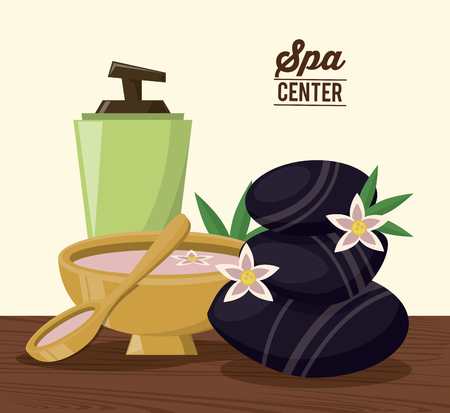 color poster of spa center with cream dispenser and volcanic stones and bowl vector illustration