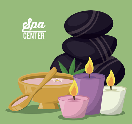 color poster of spa center with set of volcanic stones and bowl and candles vector illustration