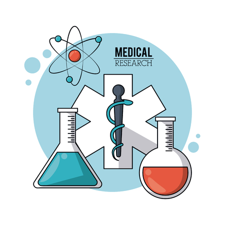 color poster medical research with symbol star of life and test tubes and atom icon vector illustration Illustration