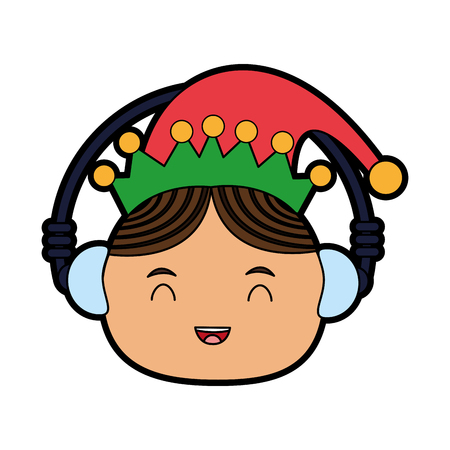 elf or santas helper wearing ear muffs christmas character icon image vector illustration design Illustration