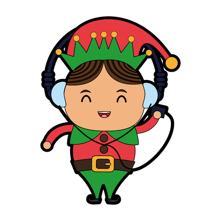 elf or santas helper with music player and headphones christmas character icon image vector illustration design