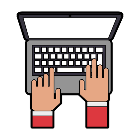 hands typing on laptop computer topview icon image vector illustration design Illustration