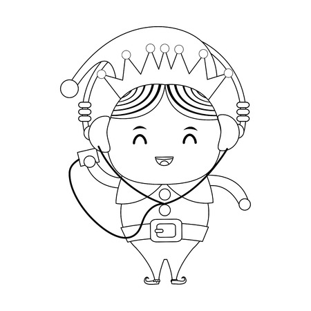 pointy ears: elf or santas helper with music player and headphones christmas character icon image vector illustration design