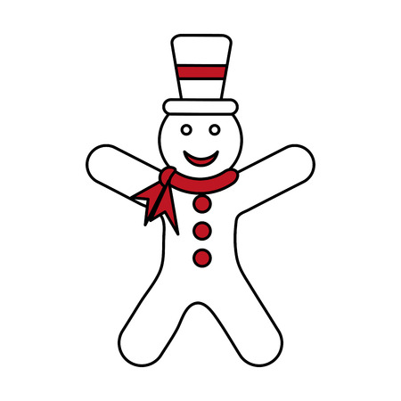 color silhouette image of gingerbread man with scarf in neck and hat vector illustration Illustration
