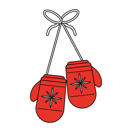 color silhouette image of decorative christmas ornament gloves vector illustration Illustration
