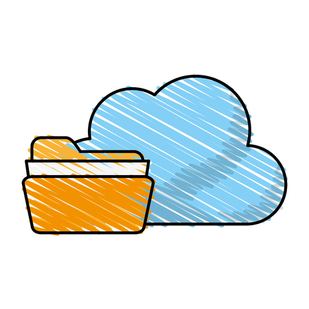 data archiving: Find archiving cloud icon illustration vector design graphic sketch