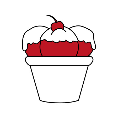 sorbet: Flat line ice cream cup with cherry over white background. Vector illustration.