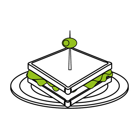toasted: Flat line sandwich with olive on plate over white background. Vector illustration.