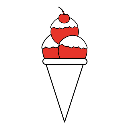 sorbet: Flat line ice cream cone with cherry over white background. Vector illustration. Illustration