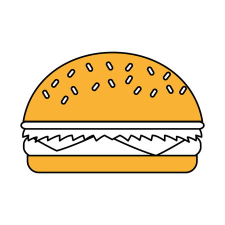 Flat line hamburguer over white background. Vector illustration. Illustration