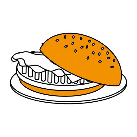 cookout: Flat line hamburger over white background. Vector illustration.